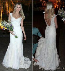 Lace Wedding Dresses V Neck Cap Sleeves Long Bridal Dresses Custom