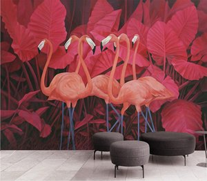 European style red tropical plant leaves flamingo background wall painting hand painted plant flower wallpapers Custom mural wallpaper