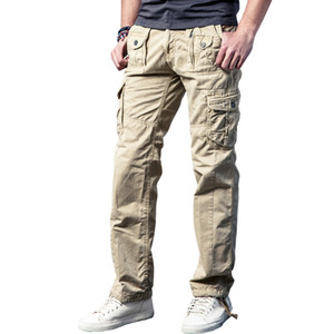Drop shipping New Arivals Multi-Pockets Solid Mens Cargo Pants Loose Long Trousers 29-40 JPCK11