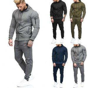 Mens New Tracksuit Jogging Top Bottom Sport Sweat Fitness Gym Suits Hoodie Trousers Pants Male Slim Fit Set