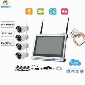"""لاسلكية NVR مجموعات المكونات الحقيقية واللعب 4CH 12.5 """"شاشة LCD كاميرا مراقبة كيت فيديو IP الأمن واي فاي CCTV نظام المراقبة أطقم AS-NVK704"""