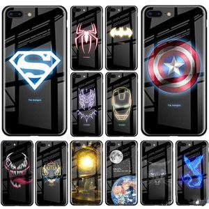 El diseñador de moda caja luminosa del vidrio templado para el iPhone 11 XS Pro X MAX XR 10 6S 7 8 Plus 7plus 8Plus 11 PRO Coque Batman cubierta del teléfono