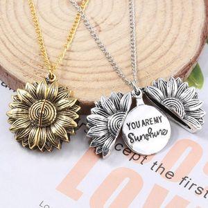 Sunflower Beschriftung Halskette Legierungs-Blumen-Doppelt-Schicht Kurzschlussclavicle Kette Sie sind mein Sonnenschein-Charme-Anhänger Neckalace für Frau LXL580