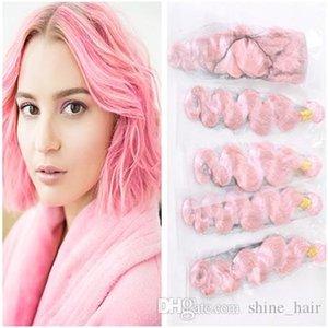Onda del corpo Pure Pink Vergine Brasiliana Dei Capelli Umani Tesse con Full Frontal 4 Bundles Rosa Fasci Del Tessuto Dei Capelli con 13x4 veletta frontale chiusura