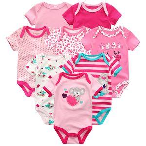 Baby Clothes 8Pcs sets Newborn Boy Girl Rompers roupas de Cotton Baby Jumpsuits Short Sleeve Pajamas Kids Clothing