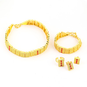 New Ethiopian Gold Farbe Schmuck Sets Legierung Halsreifen Ohrringe Ring Armband Afrika Hochzeit Eritrea Set