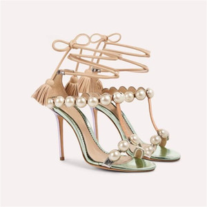 Superbe Perle Tassel Talons Bande Sandales T Strappy Lace Up Gladiator Sandales Conception Robe De Fête De Mariage Chaussures Femmes 2019