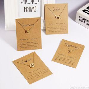 12 كوكبة زودياك قلادة القلائد مع بطاقة سحر قلادة سلاسل لليوم هدية الرجال النساء أزياء بيان مجوهرات عيد الحب