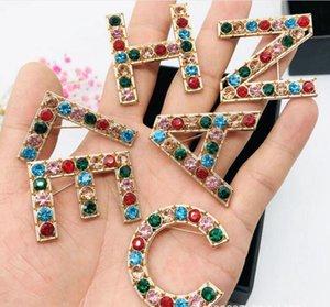 2020 nuovi 6pcs / set donne di modo di Lettere Pins Spille d'oro / argento placcato CZ Lettere Spille Pins per la festa nuziale