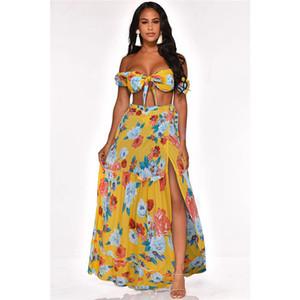 Été imprimé floral de Split Robes sexy Femmes Robe sans manches Casual femme Holiday Apparel