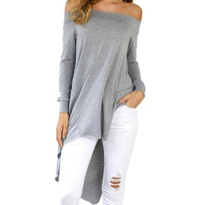 Winter Women Blouses Slash Neck Asymmetrical Tunic Casual Female Shirts Blusa Sexy Off Shoulder Autumn 2020 Top Plus Size GV1026