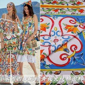 봄과 여름에 그린 파란색과 흰색 도자기 코튼 포플린 패브릭 핸드 메이드 부모 - 자식 드레스 셔츠면 직물을 인쇄