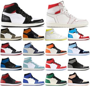 Nike AIR Jordan 1 con i calzini liberi scarpe 1 Alto Travis Scotts Basso Fearless Obsidian Mens Basketball 1s Spiderman Top 3 Banned Toe Bred di sport degli uomini delle scarpe d