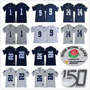 NCAA Penn State Nittany 1 KJ Hamler 14 Sean Clifford 22 John Cappelletti 26 Saquon Barkley 9 след Максорли сто пятидесятый Rose Bowl патч Джерси