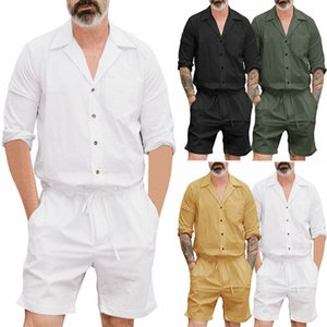 Men Casual Short Sleeve Stylish Jumpsuits Short Trouser Pants Male Rompers Slim Shirts Black White Green Yellow