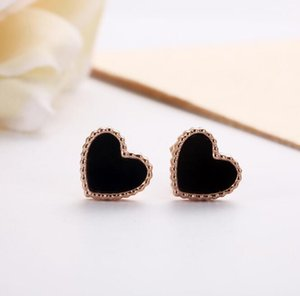 Hot Sales 316L Surgical Stainless Steel Heart Design Stud Earrings Black Mother Of Pearl IP Rose Gold High Polishing