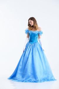 Deluxe Cinderela Traje de Fadas Das Senhoras Conto de Fadas Vestido De Baile Vestido de Mulheres Cinderela Princesa Vestido Azul Traje Cosplay