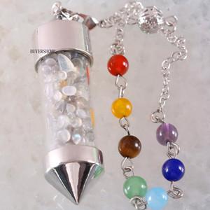 Ожерелье 7 Чакра Желая бутылки Pendulum Рэйки Натуральный камень Чип Серый лабрадор Подвеска для женщин Мужчины Предсказания Amulet K614
