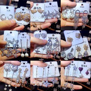 Boucle d'oreille de mode plaqué argent 925 aiguille anti-allergie diamant véritable or noble tempérament boucles d'oreilles exquis dame accessoires