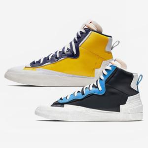Mode Sacai X Blazer Mid Avec Dunk Hommes Chaussures de course Casual High Cut Blanc Gris Université Noir Bleu Varsity baskets de sport de maïs