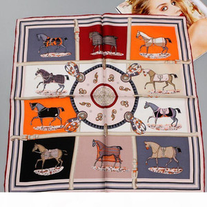 wholesale Horse Printed 100% Silk Twill Scarf, Women Ladies Quality Hand Rolled Small Square Silk Scarfs Necktie Bag Scarf 55cm