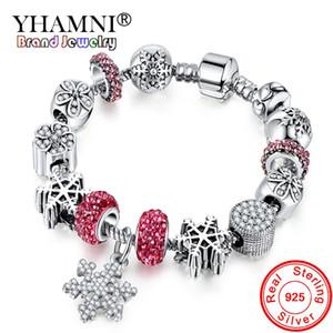 YHAMNI Antique 925 Boda de Plata Joyería de La Vendimia Charm Bracelet Bangle Con Copo de nieve Colgante de Cuentas de Cristal para Las Mujeres YB211