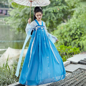 Bleu broderie Hanfu femmes costumes de danse chinoise Folk festival Fairy Dress Rave Vêtements Outfit Chanteur Performance DC4096