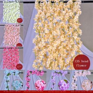 Cerise rotin Cherry soie artificielle fleur de vigne de soirée de mariage Gardyard Arche Décoration Sakura Hanging Décor
