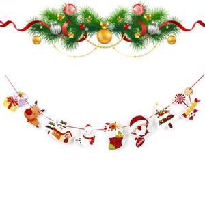Wall Navidad que cuelgan adornos de nieve de 2,5 m gota Calcetines paracaídas Santa Claus indicador de la bandera colgante para partido de la decoración del hogar Y18102609