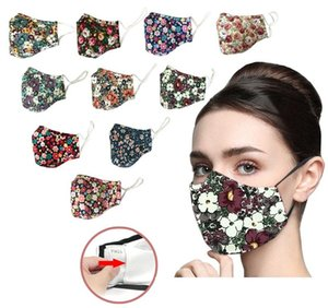 Designers Printed Cotton Face mask Dust Respirator Can Be Washed With water And inserted With filters Protective Masks 10 Styles HH9-3092