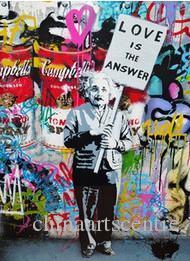 vA. Banksy Mr Brainwash Albert Einstein 'Liebe ist die Antwort' handgemaltes abstraktes Graffiti-Kunst-Ölgemälde auf Leinwand Wall Art Deco