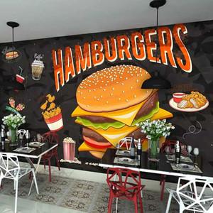 Damla Nakliye Özel Duvar Duvar Hamburger Fried Chicken Hızlı Kahve Duvar Dekoratif Duvar kağıdı Papel De Parede 3D Boyama