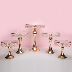 5 unids / set Gold Crystal Torta Soporte Soporte Pan Pan Cupcake Sweet Table Candy Bar Table Spieces Decoraciones de la boda