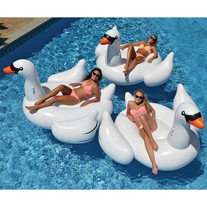 60 Inches Giant Inflatable Rose Gold Flamingo Swan Ride-on Pool Toy Swimming Game Air Mattress Large Floating Island Boat Party Inflation