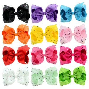 8 인치 캔디 색상 조조 활 아기 Barrettes 무지개 도금 드릴 유니콘 인쇄 헤어 클립