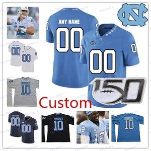 Пользовательские North Carolina Tar Heels 2020 UNC Футбол Любой Название Количество Синий Синий Белый # 6 Кейд Фортин 7 Sam Howell NCAA Джерси 150-й