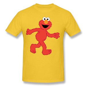 2020 Brand Men Cotton Sesame Street Elmo T Shirts Men Round Neck White Short Sleeve T Shirts Big Size Customized T Shirts