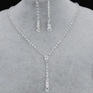 Kristal Gelin Takı Seti Gümüş Kaplama Kolye Elmas Küpe Gelin Nedime Parti Aksesuarları Için Düğün Mücevherat Setleri