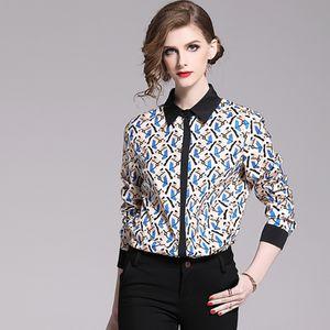 summer Elegant Long Sleeve Blouses Women New Vintage Print Shirts Wear Work Tops Turn-down Collar Casual Blouse k5111