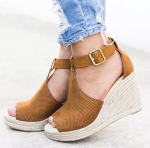 XPay estate donne sandali con zeppa tacco Scarpe a punta aperta alti talloni della spiaggia scarpe di moda comoda Roma Taglie 42 43