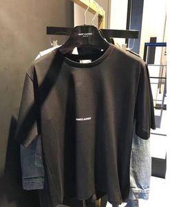 Джинсы мужские США полосатой футболки лето XXLStussy Мода Вышивка тройники короткий рукав Топы Одежды