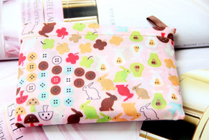 300 stücke Faltbare Wasserdichte Lagerung Eco Wiederverwendbare Polyester Cartoon Einkaufstaschen Qualität einkaufstaschen Träger
