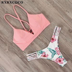 Rxrxcoco bandage traje de baño mujeres bikini bikini traje de baño 2019 sexy thong bikini conjunto traje de baño hembra empuje hacia arriba bañistas de flores