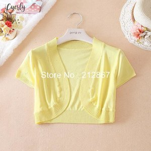 Arrival New Womens Short Sleeve Solid Silk Sweater Knitting Shrug Lady Fashion Short Cardigans Sweater Waistcoat