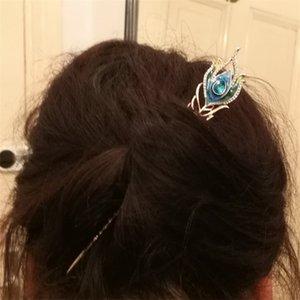 3 cores de esmalte Peacock cabelo Feather Varas jóias cabelo casamento Meninas Top Cristal Hairpin ornamentos presentes clipe de Ouro