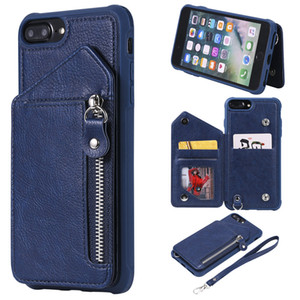 For iPhone 6 Plus 6S Plus Case Zipper Humanized Card Slot Design Cover Double buckle Stand shockproof For iPhone 7 Plus 8 Plus