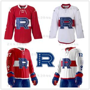 Özel Vintage AHL ortaklık Laval Roket Kırmızı Beyaz Hokeyi Formalar Dikişli Canadiens Adınız Özelleştirilmiş herhangi bir sayı logosu CCM açıklayacak