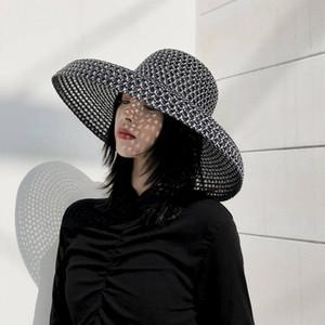 20ss Negro tejidos de paja de ala ancha para mujer Caps Sombreros Holiday Beach alta calidad del sombrero sombreros de Sun de marea pescador Sombreros