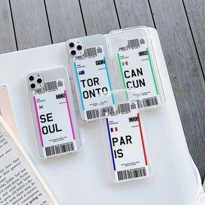 나라 런던 파리 도쿄 뉴욕 휴스턴 시카고 투명 안티 - 가을 소프트 커버 XR 크리에이티브 항공 티켓 케이스 아이폰 (11) 프로 맥스 X
