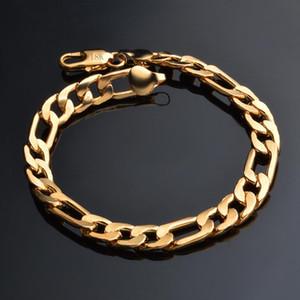los hombres brazalete de oro 3: 1NK joyas modelos de explosión pulsera guapos elegantes oro de 18 quilates chapado en cobre galvanoplastia Figaro 8MM para hombre pulseras